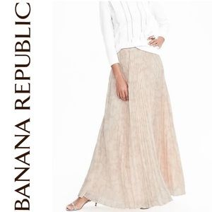 Pleated Maxi Skirt in Cream Floral Print